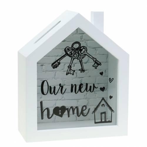 """Economy doos """"Our New Home"""" houtglas wit 15x7cm H18cm"""