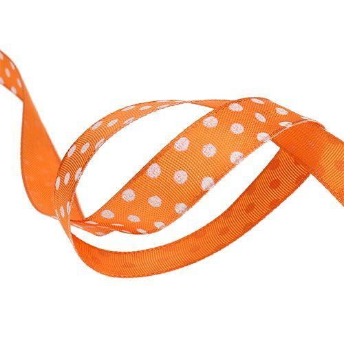 Geschenklint met stippen oranje 15mm 20m