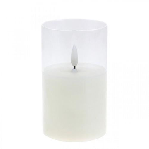 LED kaars in glas met vlameffect, binnenkaars warm wit, LED met timer, werkt op batterijen Ø7,5 H12,5cm