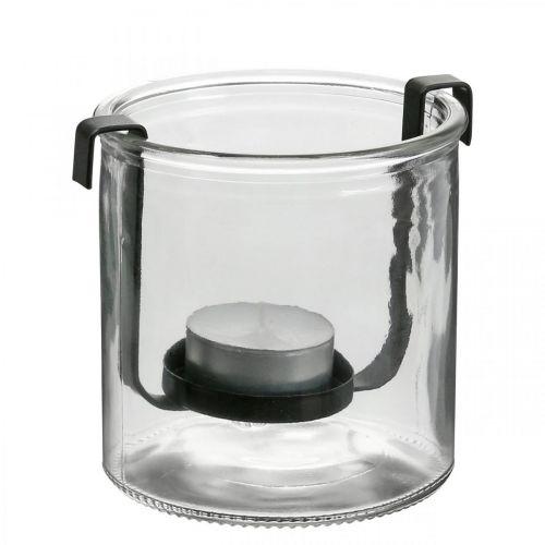 Lantaarn glas met waxinelichthouder zwart metaal Ø9 × H10cm