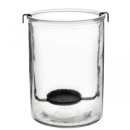 Lantaarn glas met waxinelichthouder zwart metaal Ø13.5 × H20cm