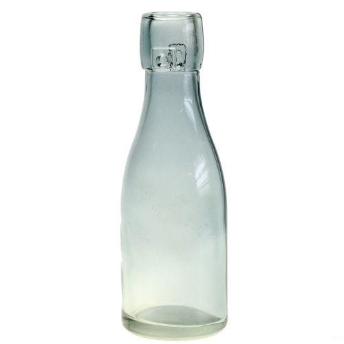 Glazen flessenvaas Ø5cm H16cm groen / grijs 6st