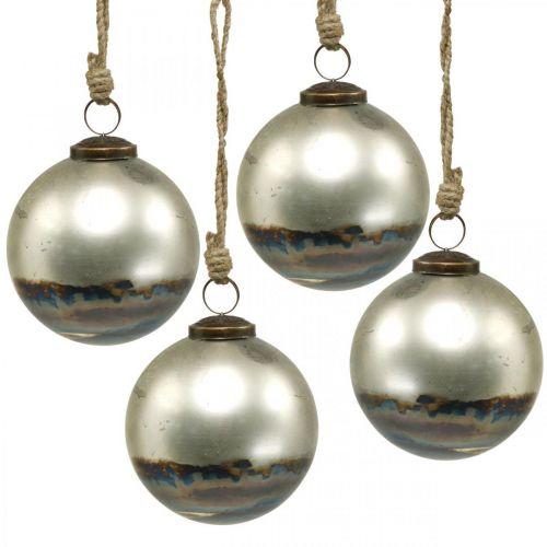 Kerstballen tweekleurig glazen bol blauw, metallic Ø9,5cm 4st