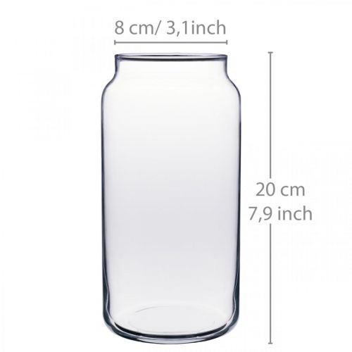 Bloemenvaas glas helder glazen vaas tafeldecoratie Ø8cm H20cm