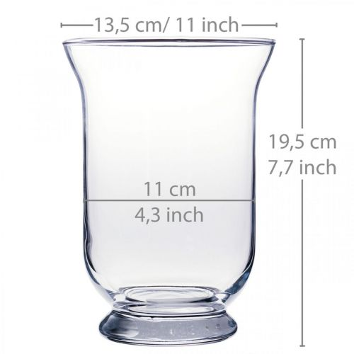 Glazen vaas helder Ø13.5cm H19.5cm glazen decoratie bloemenvaas