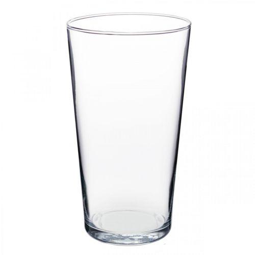 Glazen vaas conisch helder Ø14cm H25cm