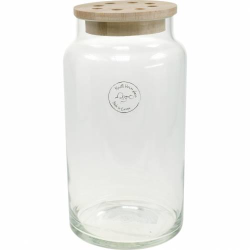 Glazen vaas met deksel Decoratieve vaas met geperforeerd deksel Bloemen schikken