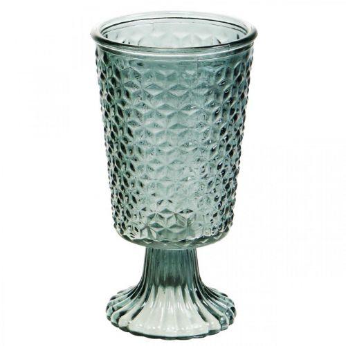 Lantaarn met voet, kop glas, decoratief glas grijs Ø10cm H18,5cm