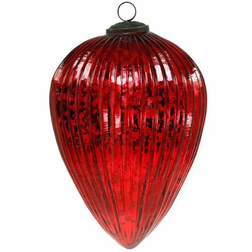 Glazen kegels voor het ophangen van rode 22cm grote kerstversieringen
