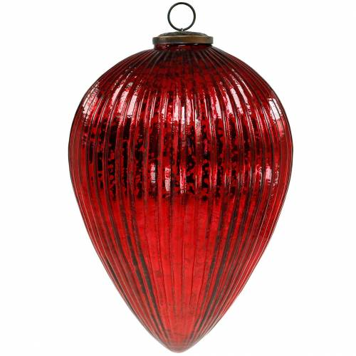 Kerstdecoratie voor het ophangen van glazen kraan rode reus 27cm