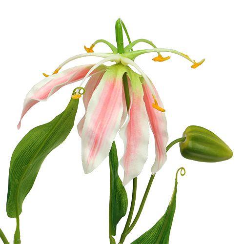 Gloriosa roze en witte kunstmatige 84cm 3st