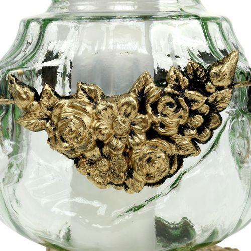 Ernstig licht glas met roos patroon 14cm x 14cm H27cm 2st