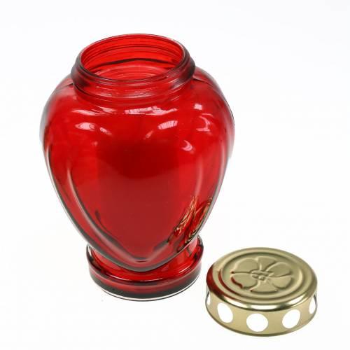 Graflamp hart rood 11.5cm x 8.5cm H17.5cm 4st