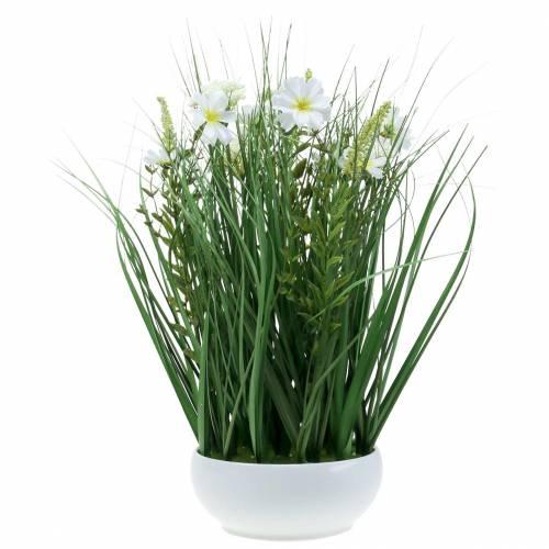 Decoratief gras met Cosmea bloemen in een schaal H45cm
