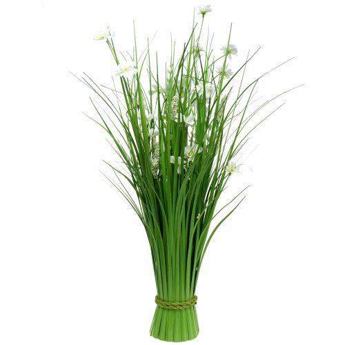 Bos van gras met bloemen wit 70cm