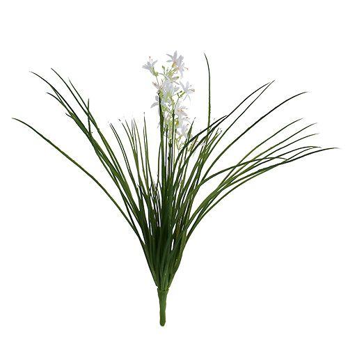 Grasstruik met bloemen groen, wit 3st