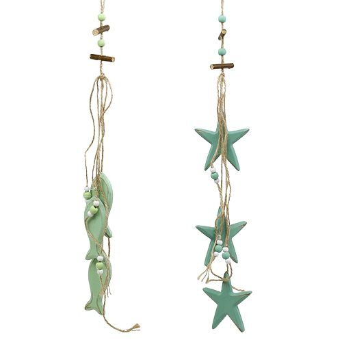 Decoratieve hanger ster, vis mint 47cm - 50cm 2st