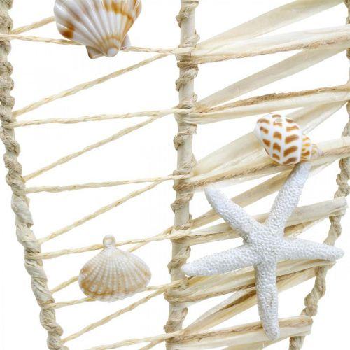 Maritieme visdecoratie met vlechtwerk en schelpen, decoratiehanger visvorm natuur 38cm