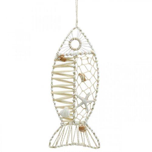 Decoratieve vis met schelpdecoratie, maritieme decoratie, vis om op te hangen wit 38cm