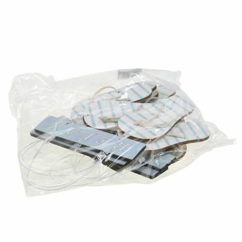 Slippers met hanger Hout Lichtblauw 23×14cm 6st