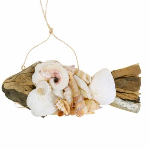 Maritieme decoratie voor het ophangen van vissen met schelpen hout 18cm