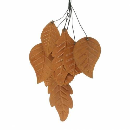 Decoratieve hanger herfstbladeren patina metaal H25cm 2st