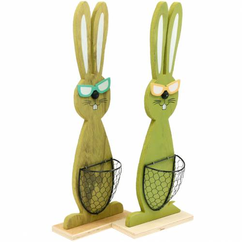 Paashazen met mand groen, lente, decoratieve plantmand, paasdecoratie houten konijn 2st