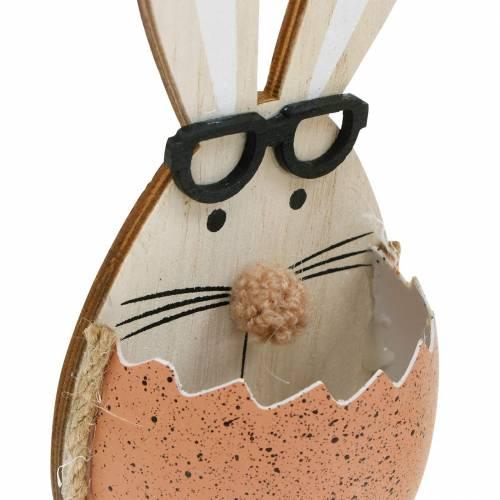 Houten konijn in een ei, lentedecoratie, konijnen met glazen, paashazen 3st