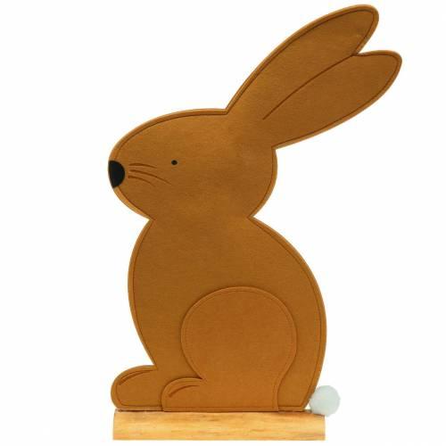 Decoratief konijn zittend vilt lichtbruin 40cm x 7cm H61cm Pasen decoratie, etalage