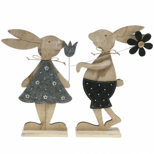 Decoratief figuur houten konijnenvilt 30 / 31.5cm 2st