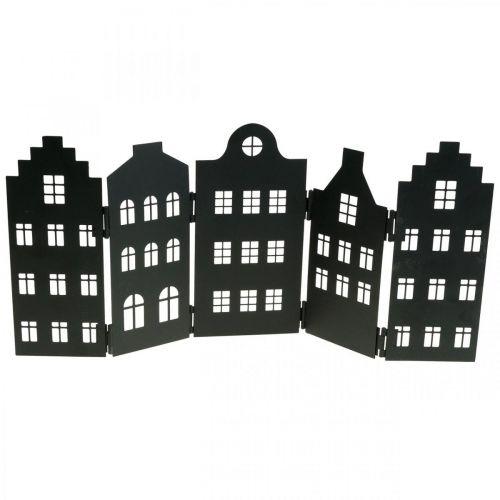 Deco huis metalen zwarte standaard stad silhouet 40 × 18cm