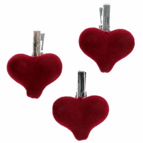 Decoratief hart met clip rood 3cm 8st