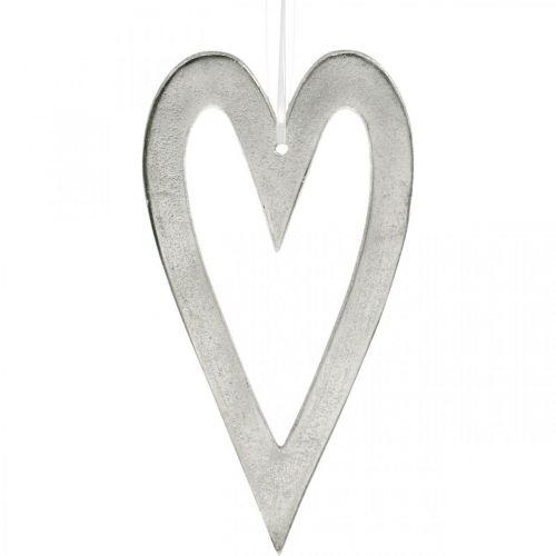 Decoratief hart voor het ophangen van zilveren aluminium bruiloftsdecoratie 22 × 12cm