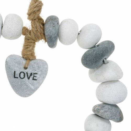 """Hart om op te hangen """"Love"""" gemaakt van rivierkiezel Natuur, grijs / wit Ø18cm 1 st"""