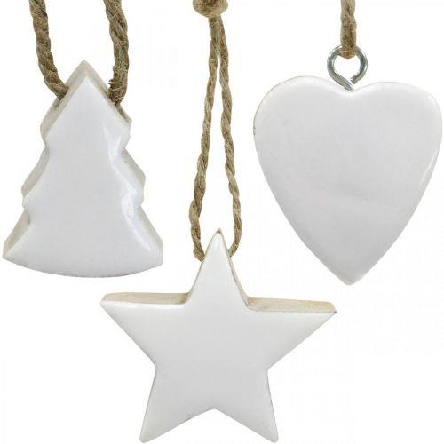 Kerstboomdecoratie houtmix hart ster dennenboom wit, natuur 5cm 27st