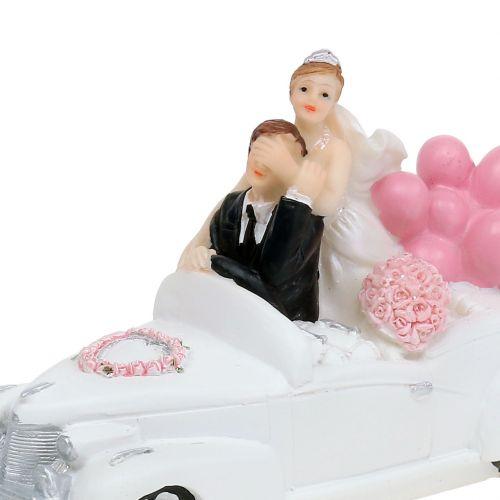 Bruidspaar bruid en bruidegom in de auto 16cm