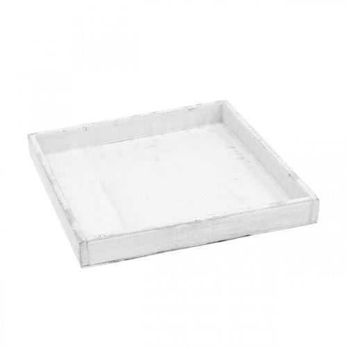 Decoratief dienblad wit hoekig houten dienblad Shabby Chic 24,5 × 24,5cm