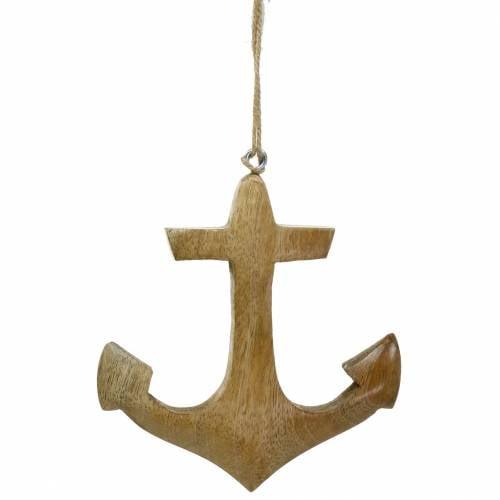 Decoratieve anker houten hanger natuur H14.6cm