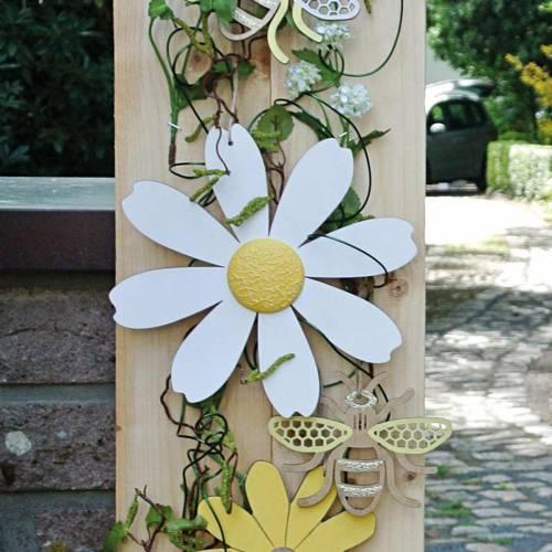 Houten bloesems, zomerdecoratie, madeliefjes geel en wit, decoratiebloemen om op te hangen 4st