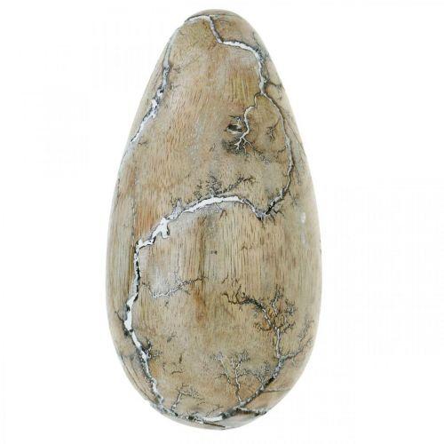Paasei mangohout naturel wit gewassen paasdecoratie hout H16cm