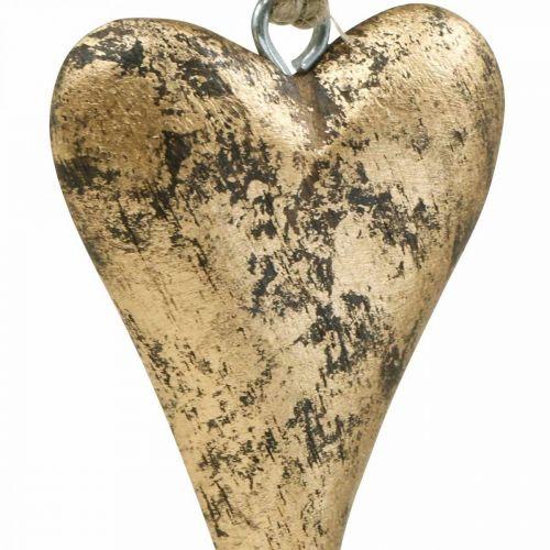 Houten hart goud effect, Valentijnsdag, bruiloft decoratie 10 × 7cm