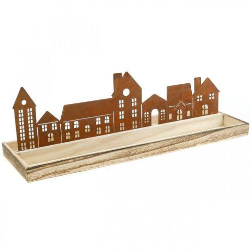 Rechthoekig decoratief houten dienblad met patina huisjes 50 × 17cm