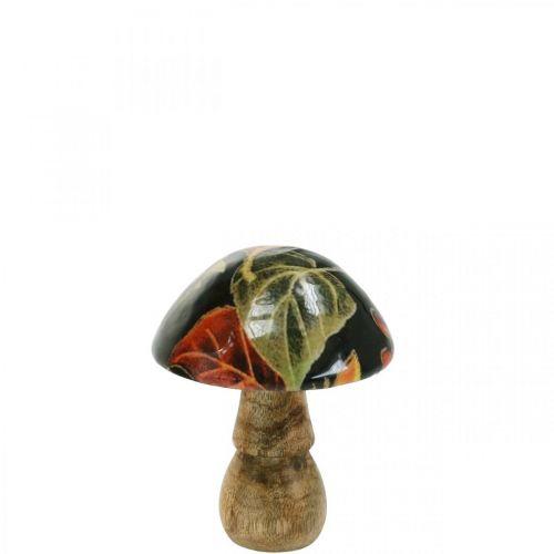 Hout paddestoelbladeren herfstdecoratie paddestoel mangohout zwart, gekleurd Ø8cm H10.5cm