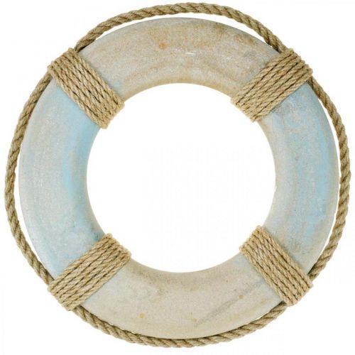 Houten zwemring, maritieme decoratie, reddingsboei Ø31cm
