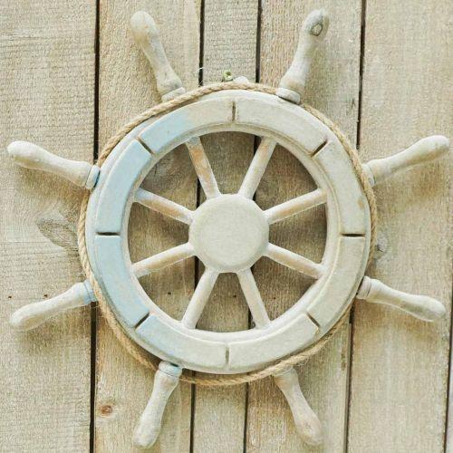 Houten stuur, nautische decoratie, maritiem Ø34,5cm