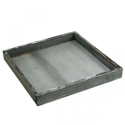 Dienblad hout hoekig grijs, wit tafeldecoratie Shabby Chic 24.5x24.5cm