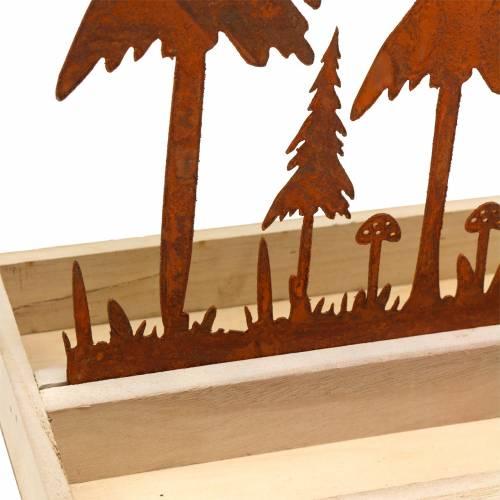 Houten dienblad bos silhouet roest 30cm x 15cm