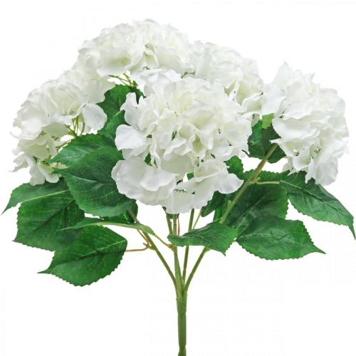 Decoratief boeket hortensia's witte kunstbloemen 5 bloemen 48cm