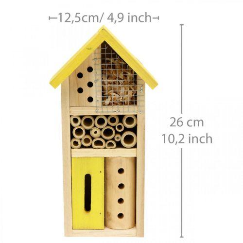 Insectenhotel geel hout insectenhuis tuin nestkast H26cm