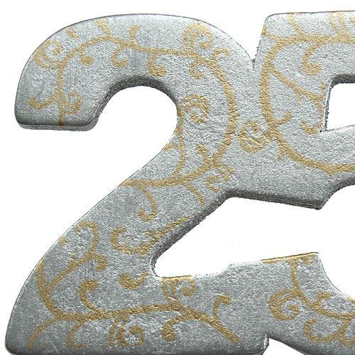 """Verjaardag nummer """"25"""" gemaakt van hout, zilver 36st"""